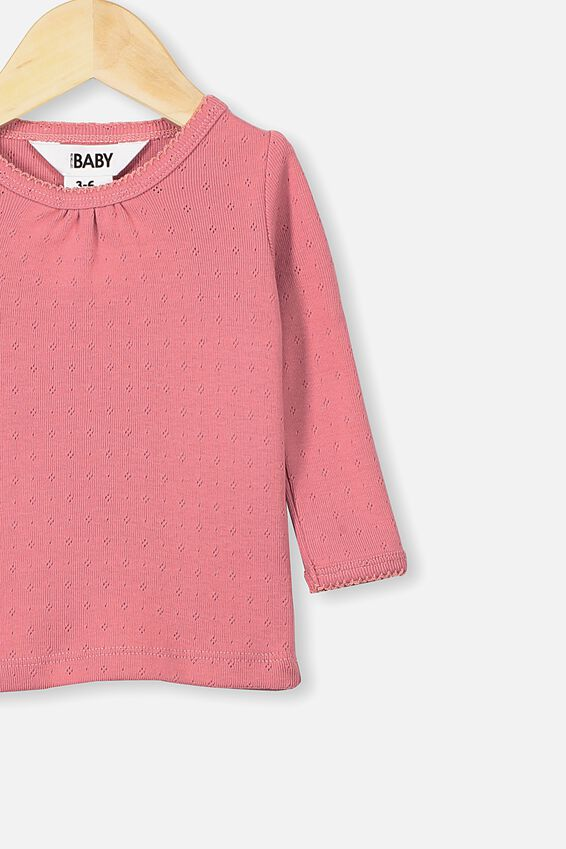 Mich Long Sleeve Pointelle Top, RUSTY BLUSH