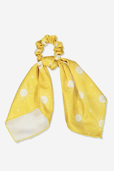 Scarf Scrunchie, HONEY GOLD SUNNY FACES