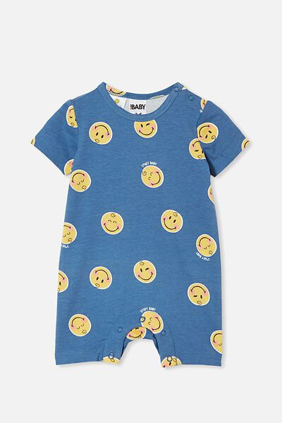 The Short Sleeve Romper License, LCN SMI PETTY BLUE/SMILEY BABY