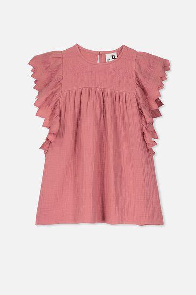 Maggie Short Sleeve Dress, RUSTY BLUSH