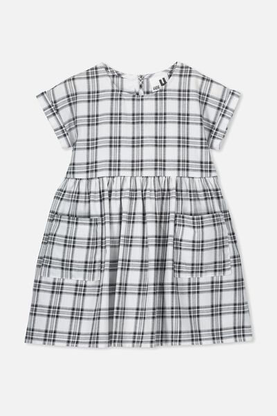 Malia Short Sleeve Dress, BLACK/WHITE CHECK