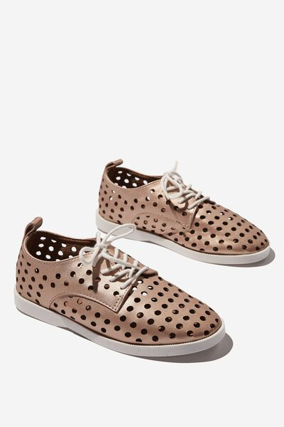 Derby Side Cut Flat, ROSE GOLD PERFORATED