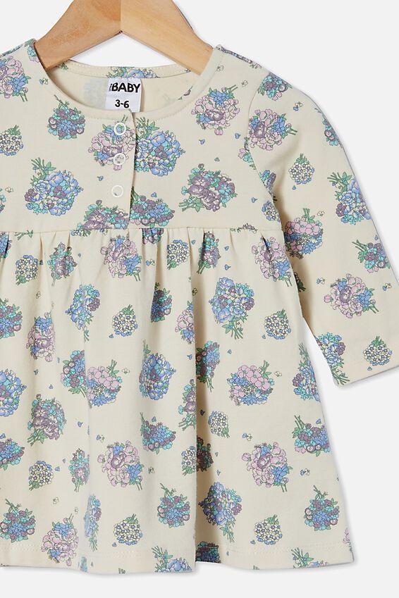 Molly Long Sleeve Dress, DARK VANILLA/DUSK PURPLE PETUNIA FLORAL