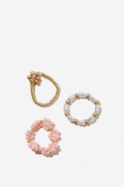 3Pk Ring Set, GOLD DAISIES