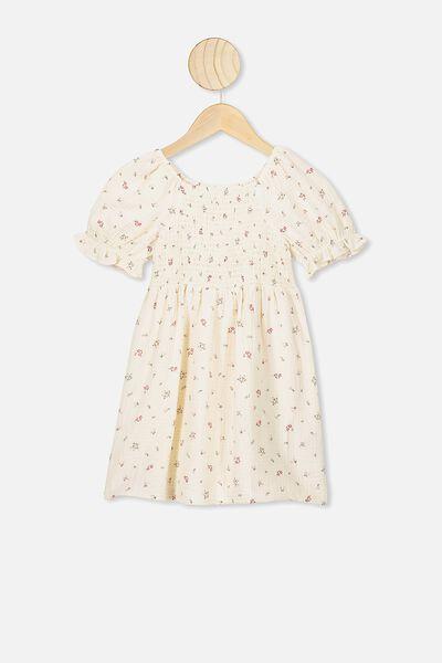 Lillie Short Sleeve Dress, DARK VANILLA/FLORAL FIELDS MINI