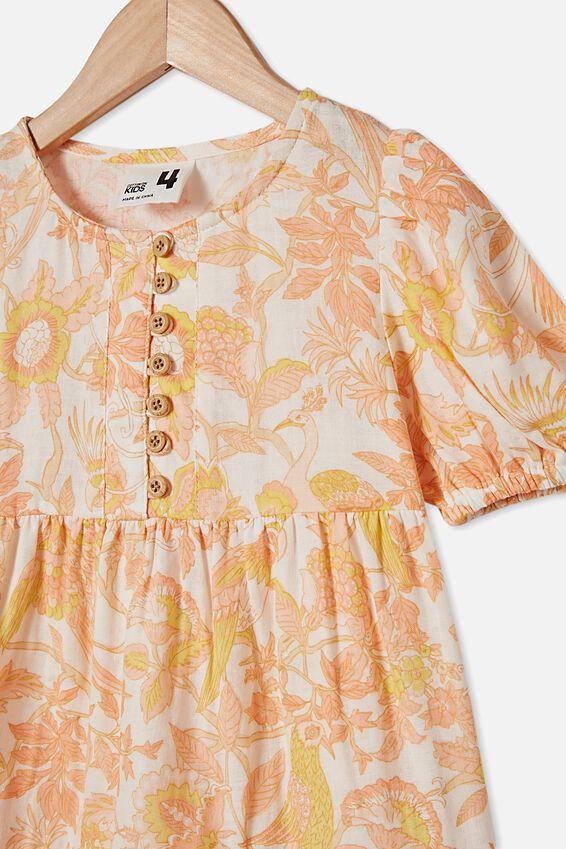Meredith Short Sleeve Dress, VANILLA/GARDEN OF BIRDS