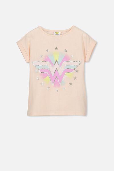 Lux Short Sleeve Retro Tee, WONDER WOMAN/LIGHT PINK