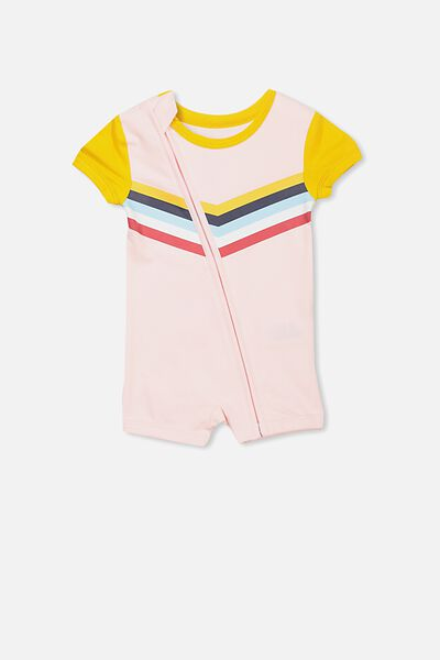 Mini Ss Zip Through Romper, BUBBLEGUM PINK/RAINBOW CHEVRON