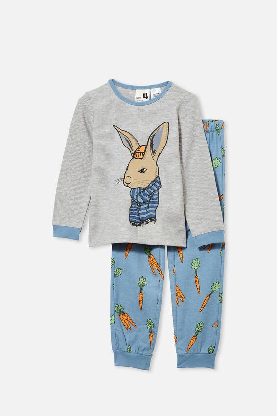 Noah Long Sleeve Pyjama Set, COOL BUNNY/ SUMMER GREY MARLE