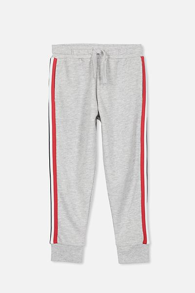 Lewis Trackpant, LT.GREY MARLE/SIDE STRIPE