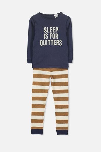 Harry Long Sleeve Boys PJ Set, SLEEP IS FOR QUITTERS