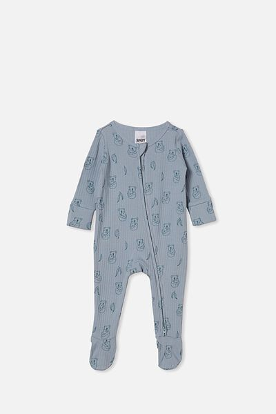 Organic Newborn Zip Through Romper, RAIN CLOUD/CUDDLY KOALA