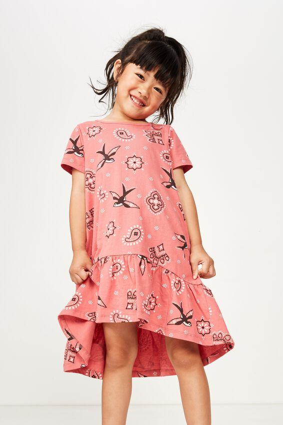 Joss Short Sleeve Dress, RETRO RED BANDANA