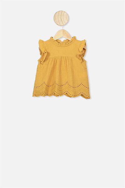Jan Flutter Sleeve Dress, VINTAGE HONEY