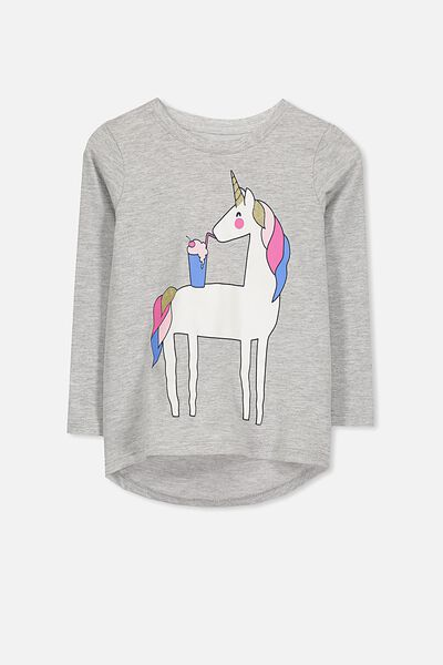 Penelope Long Sleeve Curved Hem, LIGHT GREY MARLE/MILKSHAKE UNICORN