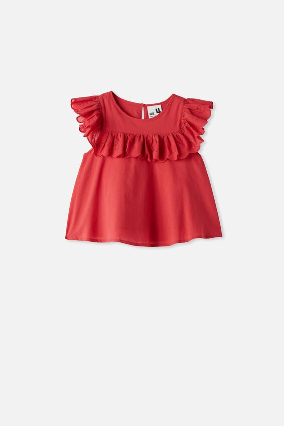 Charlotte Broderies Ss Top, LUCKY RED