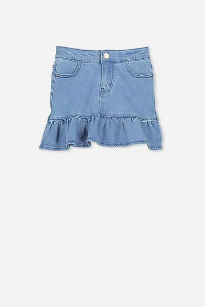 Kenzie Denim Frill Skirt, LIGHT INDIGO WASH
