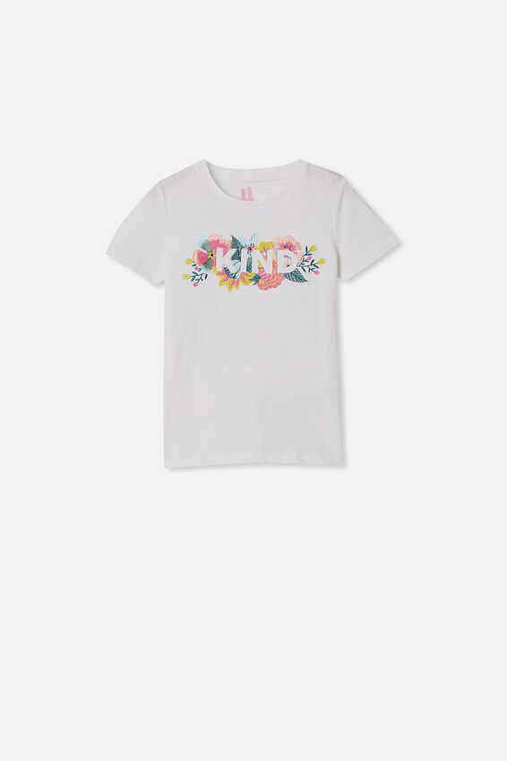 Stevie Short Sleeve Embellished Tee, VANILLA/ KIND FLORAL