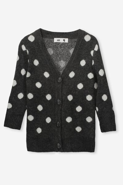 Coco Cardigan, CHARCOAL MARLE/SPOT