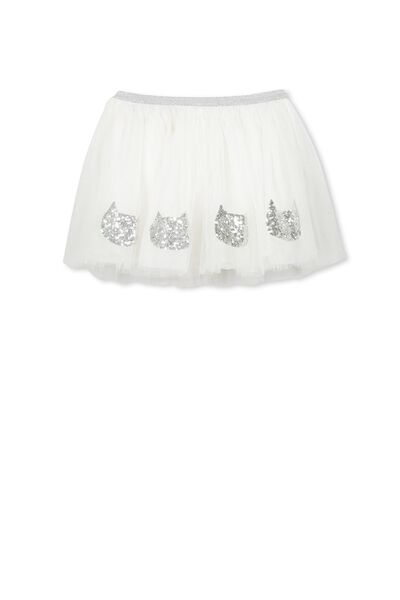 Trixiebelle Tulle Skirt, VANILLA/CAT FACES