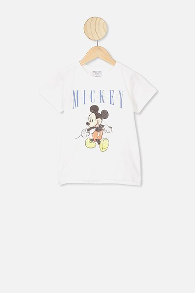 Short Sleeve License1 Tee, LCN DIS MICKEY RETRO WHITE