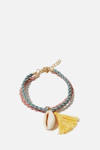 Mixed Beaded Bracelet, SHELL AQUA TWIST
