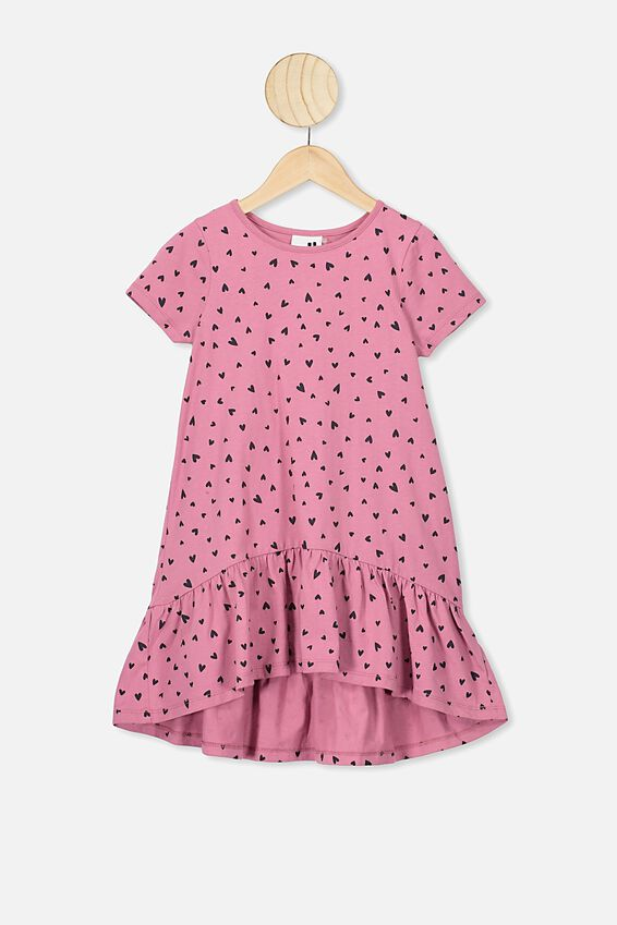 Joss Short Sleeve Dress, VERY BERRY/HEARTS