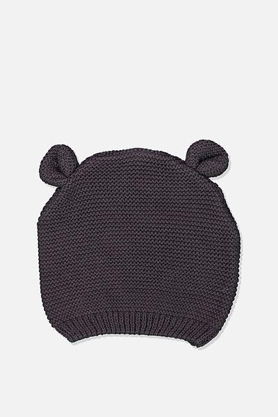 Baby Knit Beanie, GRAPHITE