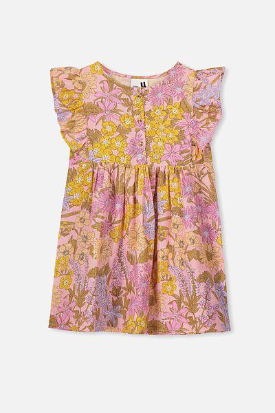 Goldie Sleeveless Dress, SWEET BLUSH WILDFLOWERS