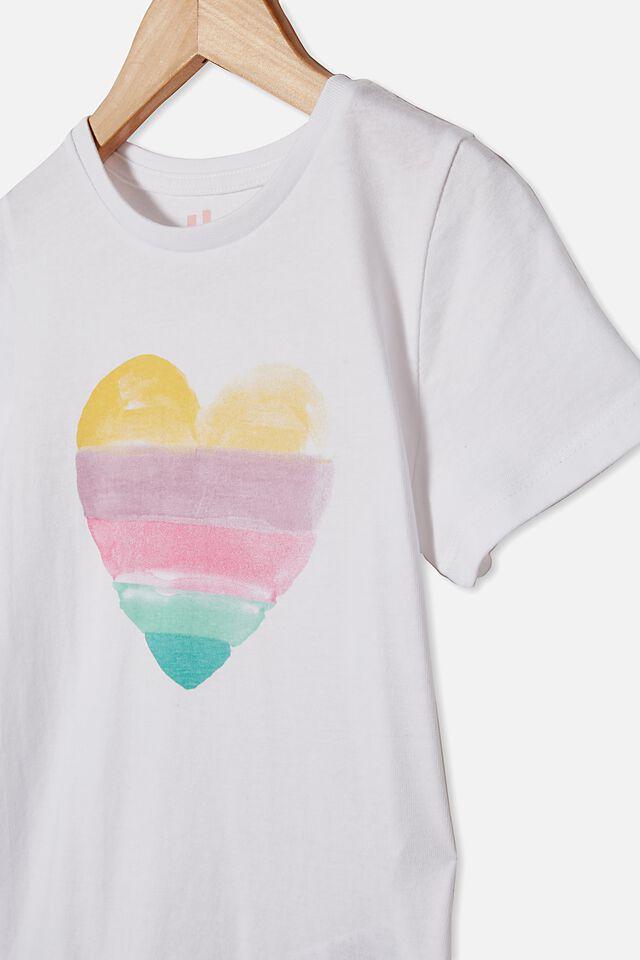 Penelope Short Sleeve Tee, WHITE/WATERCOLOUR HEART