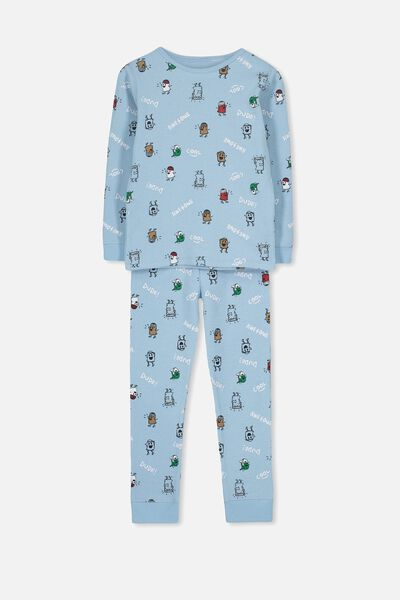 Jack Boys Long Sleeve Waffle Pyjama Set, MONSTER DUDE