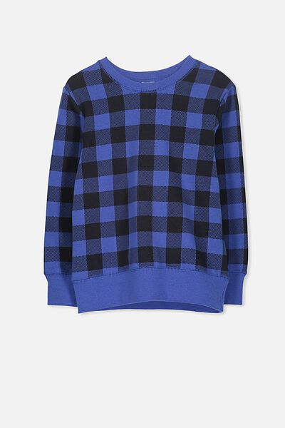 Lachy Crew Sweater, SCUBA BLUE/CHECK