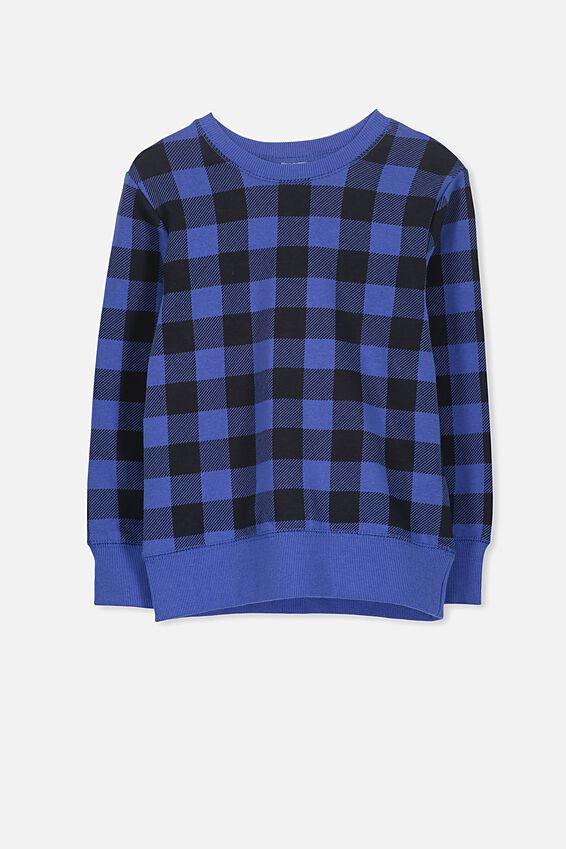 Lachy Crew Sweater, SCUBA BLUE/CHECK