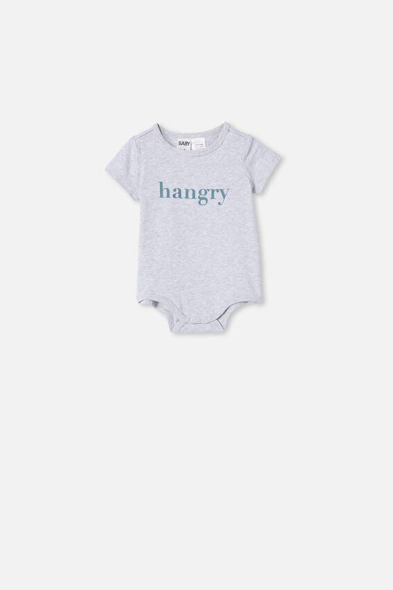 The Short Sleeve Bubbysuit, CLOUD MARLE/HANGRY
