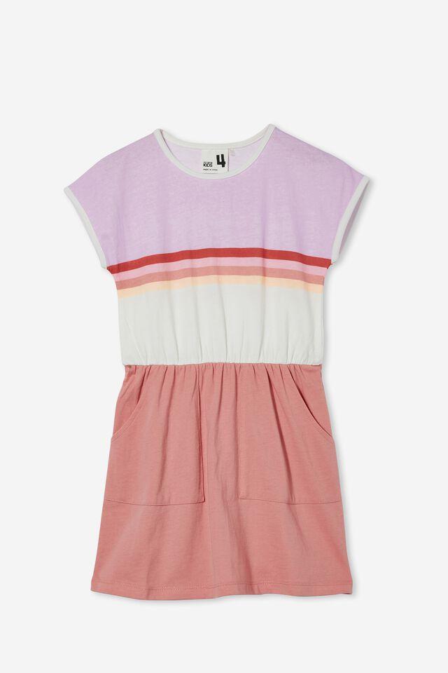 Sigrid Short Sleeve Dress, MUSK ROSE/COLOUR BLOCK