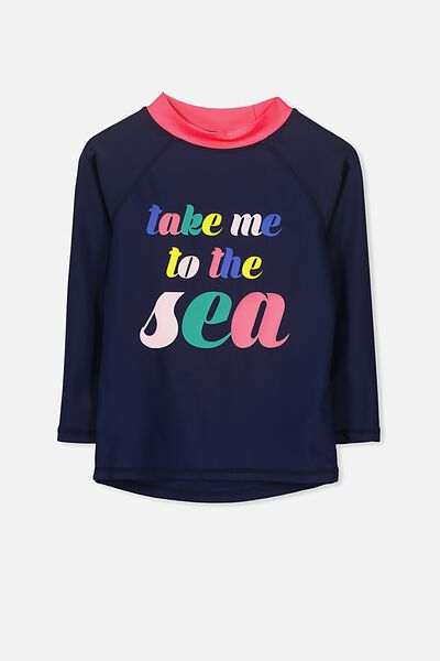 Hamilton Long Sleeve Rash Vest, PEACOAT/TAKE ME TO THE SEA