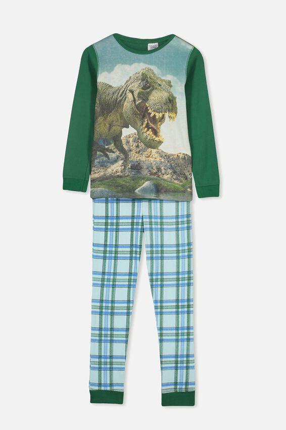 Personalised Boys T-Rex Long Sleeve Pyjama Set, PHOTO T-REX PERSONALISED