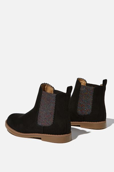 Scallop Gusset Boot, WASHED BLACK RAINBOW SCALLOP