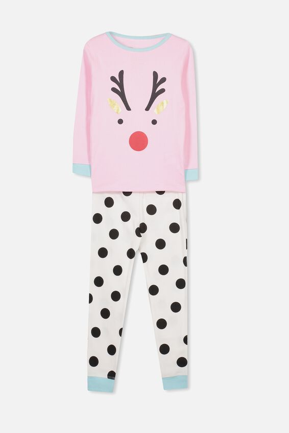 Kristen Girls Long Sleeve PJ Set, XMAS REINDEER SPOT