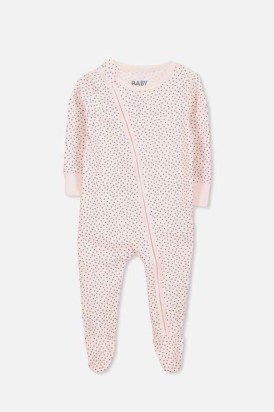 Mini Zip Footed Romper, SOFT PINK/GRAPHITE GREY SPOT