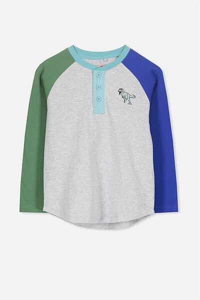 Bentley Henley Long Sleeve Tee, GREY MARLE SPLICE DINO/RAGLAN