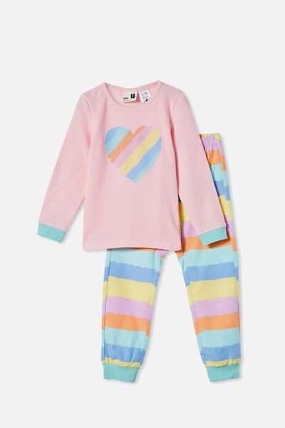 Edith Long Sleeve Pyjama Set, RAINBOW HEART/CRYSTAL PINK