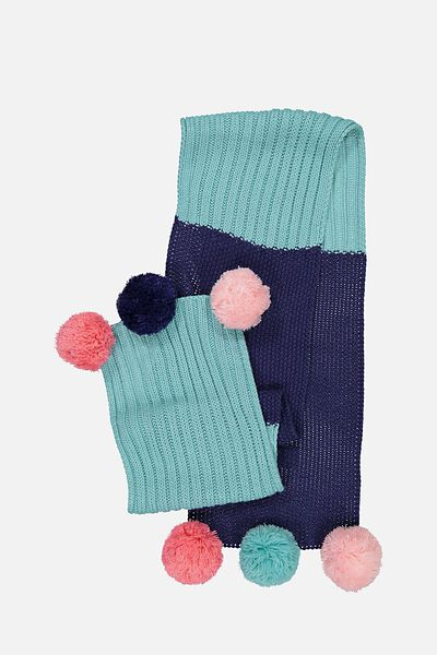 Contrast Knit Scarf, BLUE RIBBON/DUCK EGG