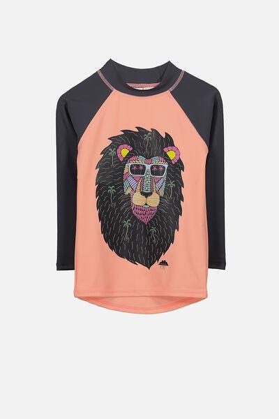 Fraser Long Sleeve Rash Vest, CHEEKY MANGO/MULGA LION