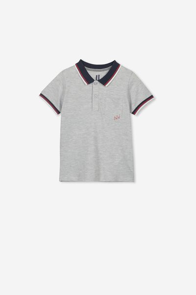Kendricks Polo, LIGHT GREY MARLE/TIPPING