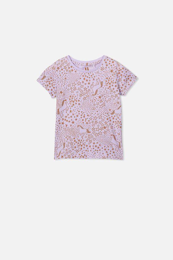 Penelope Short Sleeve Tee, BABY LILAC/UNICORN STARS/MAX