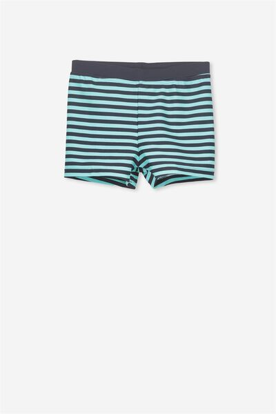 Billy Boyleg Swim Trunk, NAVY/SEA TINT STRIPE