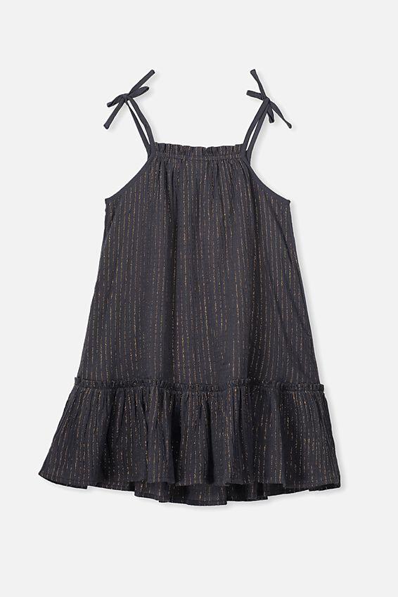Lila Sleeveless Dress, OCEAN GREY/SPARKLE STRIPE