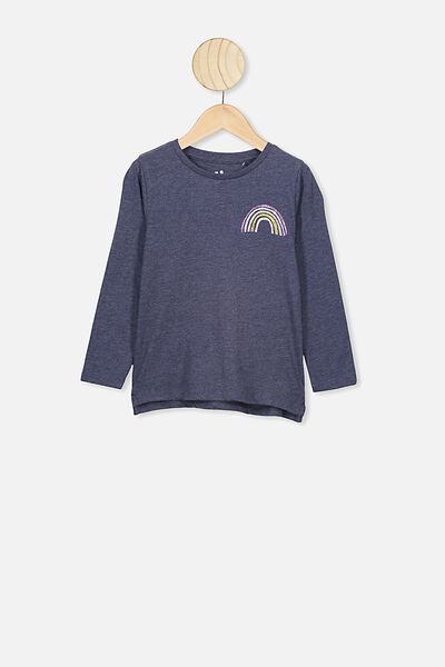 Penelope Long Sleeve Tee, NAVY MARLE/RAINBOW FRONT AND BACK
