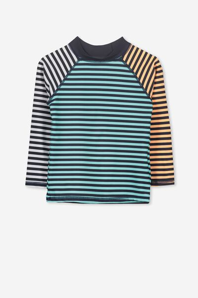Fraser Long Sleeve Rash Vest, SEA TINT/TROPICAL ORANGE STRIPE